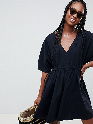 Asos Tall V Front V Back Smock Mini Dress With Ruched Tie Detail
