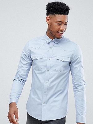 ASOS DESIGN Tall slim fit western shirt in blue - Blue