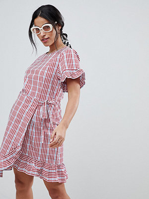 ASOS Maternity ASOS DESIGN Maternity Wrap Front Frill Sleeve Skater mini dress In Gingham