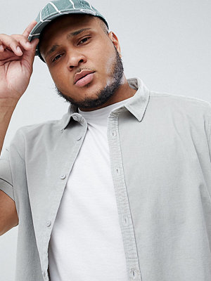 ASOS DESIGN Plus regular fit stretch cord shirt in pale grey