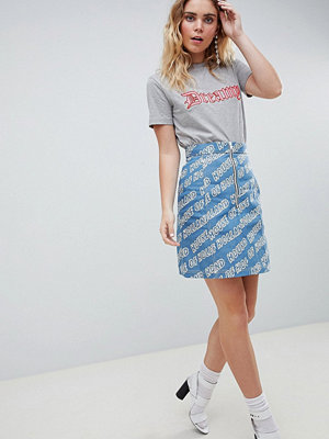 House of Holland Logo Printed Denim Mini Skirt