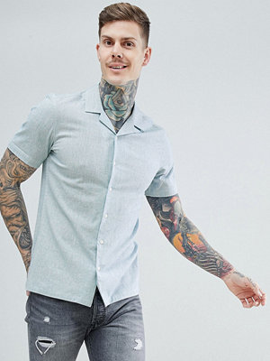 ASOS DESIGN stretch slim cotton linen shirt with revere collar in pale green