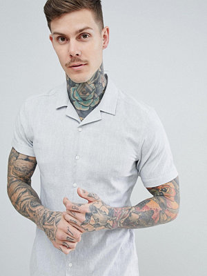 ASOS DESIGN stretch slim cotton linen shirt with revere collar in pale grey