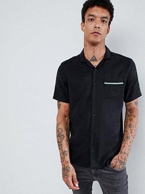 ASOS DESIGN regular fit tencel revere collar shirt with tape