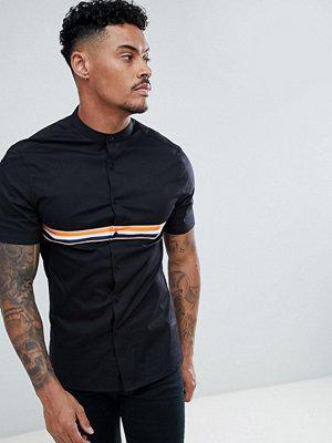 ASOS DESIGN skinny granddad collar shirt with taping