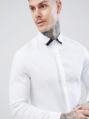 ASOS DESIGN slim twill shirt with collar contrast detail