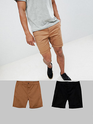 ASOS DESIGN 2 pack slim chino shorts in black & camel save - Black/rubber