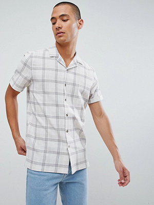 ASOS DESIGN regular fit check shirt with revere collar in ecru