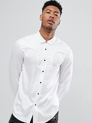 ASOS DESIGN tall regular fit western viscose shirt in white with black poppers