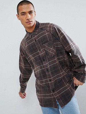 ASOS DESIGN oversized vintage look check shirt with ranglan sleeve