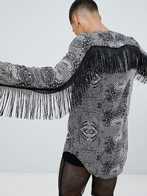 ASOS DESIGN festival overhead paisley printed shirt with fringing