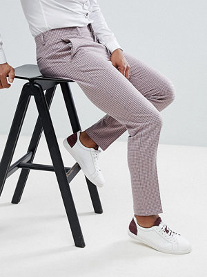 ASOS DESIGN skinny crop smart trouser in pink texture