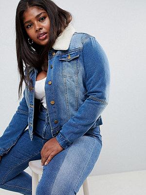 Jeansjackor - Brave Soul Plus denim jacket with faux shearling collar - Mid blue