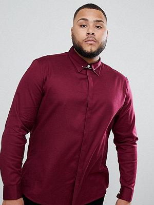 ASOS DESIGN plus slim twill shirt with collar bar in burgundy - Burgundy