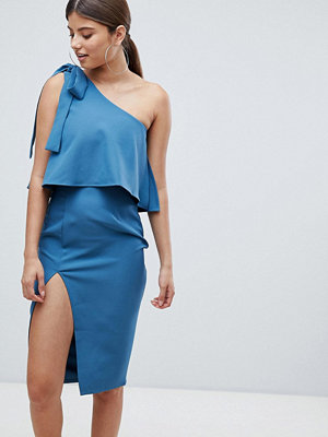 Missguided one shoulder bow sleeve dress