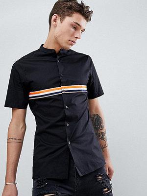 ASOS DESIGN tall skinny granddad collar shirt with taping