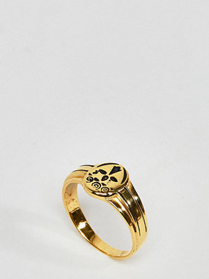 ASOS DESIGN ring in gold plated sterling silver in vintage style sovereign design