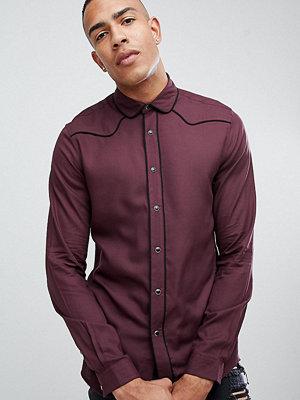 ASOS DESIGN Tall regular fit western viscose shirt in burgundy - Burgundy