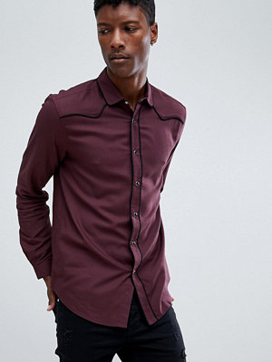 ASOS DESIGN regular fit western viscose shirt in Burgundy - Burgundy