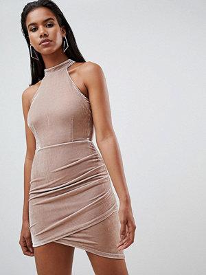 Ra-Re London halter velvet mini dress