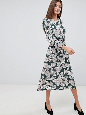 Ax Paris Palm Print Midi Dress With Ruched Waist - Khaki