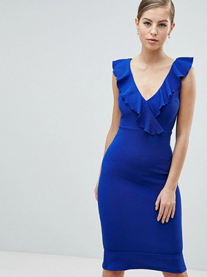 Ax Paris Frill Blue Midi Dress