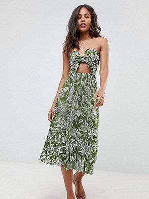 Asos Tall ASOS DESIGN Tall midi sundress with tie front in palm print