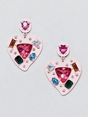 ASOS örhängen DESIGN earrings in heart shape with multicolour jewels