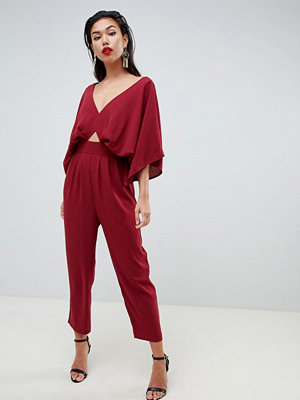 ASOS DESIGN jumpsuit with kimono sleeve and peg leg - Wine