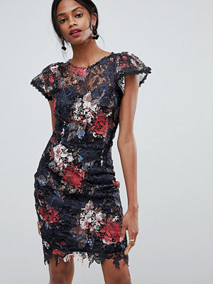 Paper Dolls cappped sleeve all over lace rose printed dress - Black