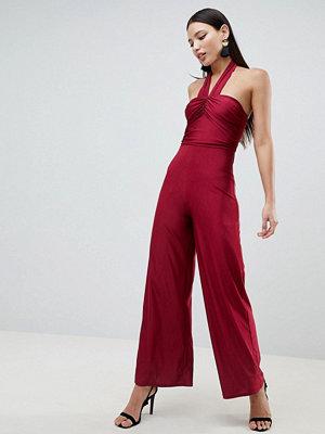 Ax Paris Jumpsuit med culotte-byxor och korsad framsida Vin
