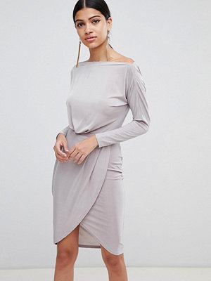 Ax Paris Long Sleeve Wrap Front Dress