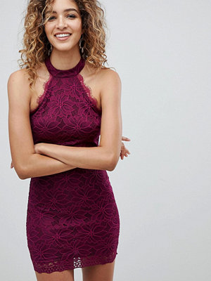 Ax Paris Racer Neck Lace Cami Dress - Plum