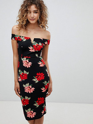 Ax Paris V Detail Floral Midi Dress