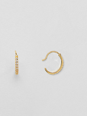 ASOS örhängen DESIGN gold plated sterling silver pull through hoop earrings with crystals
