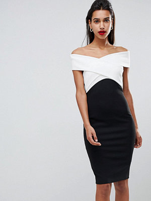 City Goddess Cross Front Monochome Midi Dress - Black/white