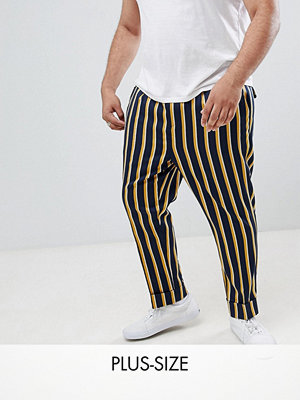 ASOS DESIGN Plus cigarette smart trouser in navy stripe with turn up