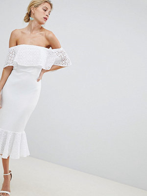 ASOS DESIGN Scuba Broderie Trim Pephem Midi Dress - Ivory