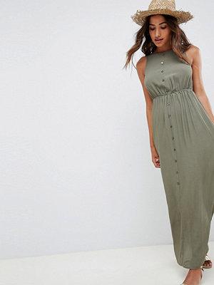 ASOS DESIGN button through bow back maxi dress - Khaki
