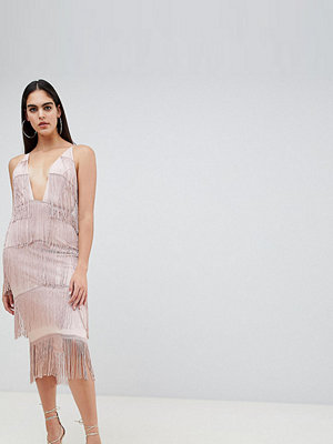 Asos Tall square neck plunge fringe bodycon dress - Nude
