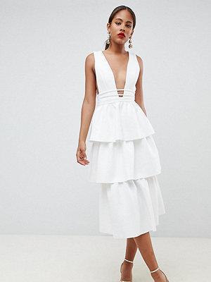 Asos Tall ASOS DESIGN Tall Tiered Prom Midi Dress - Ivory