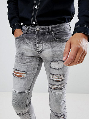 Jeans - Sixth June Extreme Ripped Biker Jeans in Super Skinny Fit - Lgre
