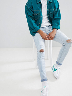 Jeans - Sixth June Skinny Fit Ripped Jeans in Light Blue