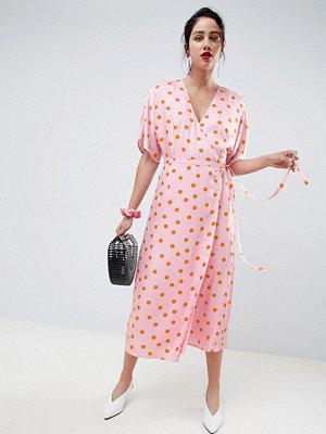 Gestuz Elsie wrap dress - Pink orange dot