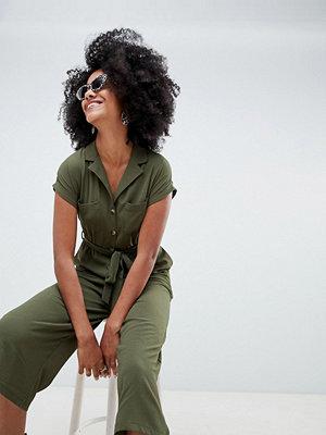 New Look Utility Shirt Jumpsuit - Khaki