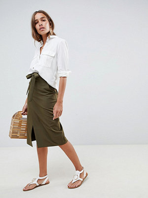 ASOS DESIGN tailored pencil skirt with obi tie - Khaki