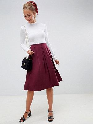 ASOS DESIGN midi skirt with box pleats - Burgundy