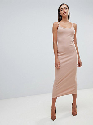 Missguided Ribbed Strappy Midi Dress - Nude