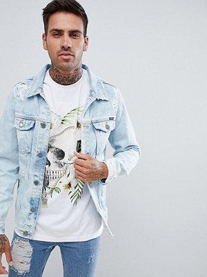 Jeansjackor - Pull&Bear Denim Jacket With Abrasion In Light Blue - Light blue
