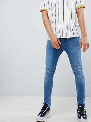 Jeans - Bershka Super Skinny Jeans In Blue With Knee Rips - Light blue